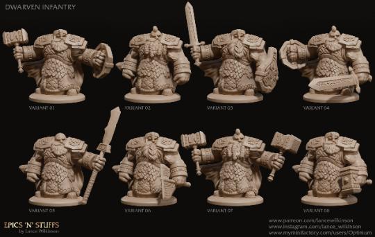 3D printed Dwarven infantry